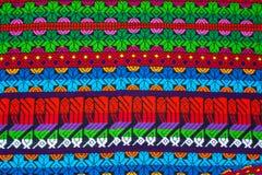 Mayan ornament on a blanket at Chichicastenango market. In Guatemala Stock Photo