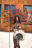 Mayan in ornamental feather headdress Stock Photo