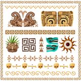 Mayan Ornaments And Patterns Cartoon Set. Colored cartoon set of ornaments patterns and  decorative elements on ancient mayan culture theme vector illustration Stock Photos