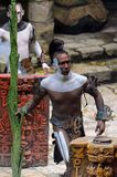 Mayan people in Mexico. XCARET, MEXICO - NOV 8, 2015: Unidentified man with a bodypaint dressed as the Maya indian. The Mayan are a group of Indigenous people of Stock Photos
