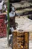 Mayan people in Mexico. XCARET, MEXICO - NOV 8, 2015: Unidentified man with a bodypaint dressed as the Maya indian. The Mayan are a group of Indigenous people of Royalty Free Stock Photography