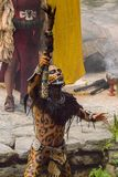 Mayan people in Mexico. XCARET, MEXICO - NOV 8, 2015: Unidentified man wears the leopard body paint of a Maya indian. The Mayan are a group of Indigenous people Stock Photo