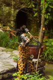 Mayan people in Mexico. XCARET, MEXICO - NOV 8, 2015: Unidentified man wears the leopard body paint of a Maya indian. The Mayan are a group of Indigenous people Stock Photos