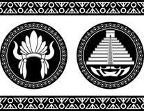 Mayan piramide en hoofddeksel vector illustratie