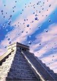 Mayan piramide en ufo stock illustratie