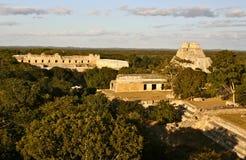 Mayan Piramides van Uxmal, Yucatan, Mexico Stock Foto's