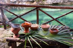 Mayan pots of items for shaman ceremony Stock Images