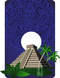 Mayan Pyramid. Background illustration with antique Mayan Pyramid Stock Photos