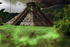 Mayan pyramid. An mayan pyramid which looks like Kukulakan pyramid in Chitchen Itza site in Yucatan Royalty Free Stock Images
