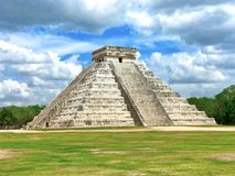 Mayan pyramid at Chichen Itza. Beautiful landscape view of the Chichen Itza pyramid located in Mexico royalty free stock photo