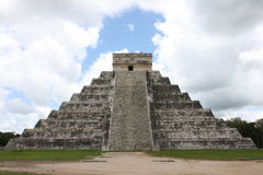 Mayan Pyramid in Chichen-Itza Mexico. Daytime front view of the Mayan pyramid in Chichen-Itza, Mexico Stock Images