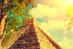 Mayan pyramid Chichen Itza, Mexico. Ancient mexican tourist site Royalty Free Stock Photo