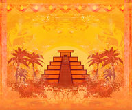 Mayan Pyramid, Chichen-Itza, Mexico card Royalty Free Stock Photos