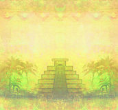 Mayan Pyramid, Chichen-Itza, Mexico - grunge abstract background Royalty Free Stock Photos