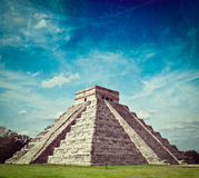 Mayan pyramid in Chichen-Itza, Mexico. Vintage retro hipster style travel image of travel Mexico background - Anicent Maya mayan pyramid El Castillo (Kukulkan) Royalty Free Stock Image