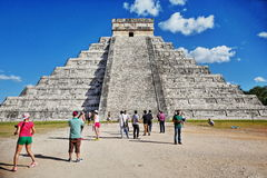 """Mayan pyramid in Chichen-Itza, Mexico. Chichen Itza which means """"at the mouth of the well of Itza """", is the 2nd most visited archeological site of Mexico Royalty Free Stock Photos"""