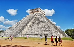 """Mayan pyramid in Chichen-Itza, Mexico. Chichen Itza which means """"at the mouth of the well of Itza """", is the 2nd most visited archeological site of Mexico Stock Images"""