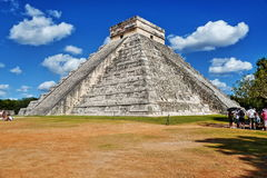 """Mayan pyramid in Chichen-Itza, Mexico. Chichen Itza which means """"at the mouth of the well of Itza """", is the 2nd most visited archeological site of Mexico Royalty Free Stock Photo"""