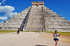 """Mayan pyramid in Chichen-Itza, Mexico. Chichen Itza which means """"at the mouth of the well of Itza """", is the 2nd most visited archeological site of Mexico Stock Photos"""
