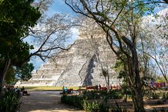 Mayan pyramid of Kukulcan El Castillo in Chichen Itza, Mexico royalty free stock images