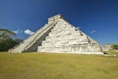 The Mayan Pyramid of Kukulkan (also known as El Castillo) and ruins at Chichen Itza, Yucatan Peninsula, Mexico Royalty Free Stock Photo