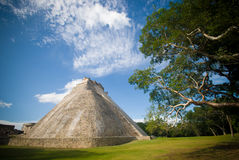 Mayan pyramid. (The pyramid of the Magician) in Uxmal, Mexico Stock Images