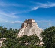 Mayan pyramid (Pyramid of the Magician, Adivino) in Uxmal, Mexic Royalty Free Stock Photography