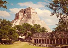 Mayan pyramid Pyramid of the Magician in Uxmal Stock Photography