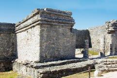 Mayan pyramid, Tulum, Mexico Fotografering för Bildbyråer