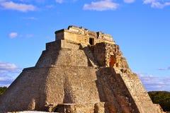 Mayan Pyramid , Uxmal, Mexico. The oval Magician´s pyramid in Uxmal, Yucatan, Mexico Stock Photography