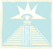 Mayan Pyramid with Venus Eye Glyph Royalty Free Stock Photo