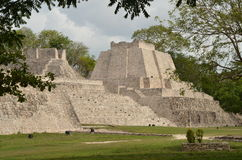 Mayan pyramids Edzna before the rain. Yucatan, Campeche, Mexico. Stock Photos
