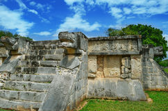 Mayan pyramids in Mexico, sculpture is the head of serpent Royalty Free Stock Photo