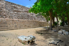 Mayan pyramids in Mexico, sculpture is the head of serpent Royalty Free Stock Photography