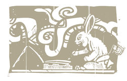 Mayan Rabbit Scribe Woodblock Stock Image