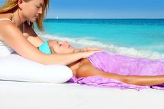 Mayan reiki massage in Caribbean beach woman Stock Image
