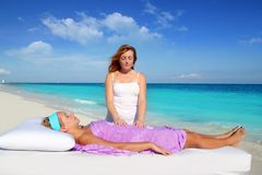Mayan reiki massage in Caribbean beach woman. Vacation therapy Royalty Free Stock Image