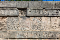 Mayan reliefs on Venus Platform in the Great Plaza of Chichen Itza, Mexico Stock Photography