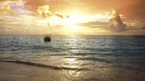 Mayan Riviera beach sunrise in Caribbean Mexico. Mayan Riviera beach sunrise in Caribbean sea of Mexico Quintana Roo stock video footage