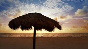 Mayan Riviera sunroof beach sunrise in Caribbean. Mayan Riviera palapa sunroof beach sunrise in Caribbean sea of Mexico Quintana Roo stock video