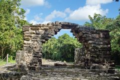 Mayan ruïne in Cozumel, Mexico stock afbeeldingen