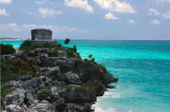 Mayan Ruïne dichtbij Tulum royalty-vrije stock afbeelding