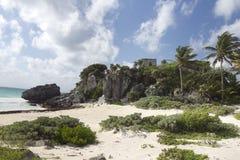 Mayan ruïnes bij tulum, Mexico Stock Foto's