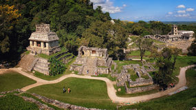 Mayan ruïnes in Palenque, Chiapas, Mexico Stock Foto's