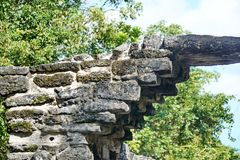 Mayan ruin in Cozumel, Mexico. Stone arch in the Mayan ruin of San Gervasio, in Cozumel, Mexico stock images