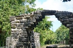 Mayan ruin in Cozumel, Mexico. Stone arch in the Mayan ruin of San Gervasio, in Cozumel, Mexico royalty free stock image
