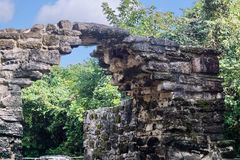 Mayan ruin in Cozumel, Mexico. Stone arch in the Mayan ruin of San Gervasio, in Cozumel, Mexico royalty free stock images