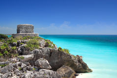 Mayan ruin at Tulum near Cancun, Mexico. Mayan ruin at Tulum near Cancun overlooking the Caribbean sea, Mayan Riviera, Mexico. Mayan pyramids and temples stock photos