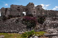 Mayan ruin in Tulum, Yucatan, Mexico. One of the well preserved Mayan sites in Tulum, Mexico on Yucatan Peninsula. Part of the precolumbian Maya walled city Stock Image
