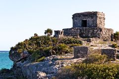 Mayan Ruins above the Ocean at Tulum stock photography
